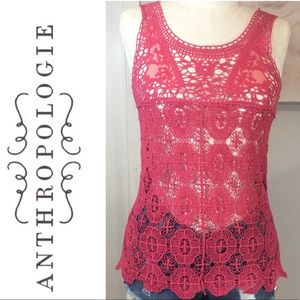 Anthropologie Pins and Needles Pink Crochet Top